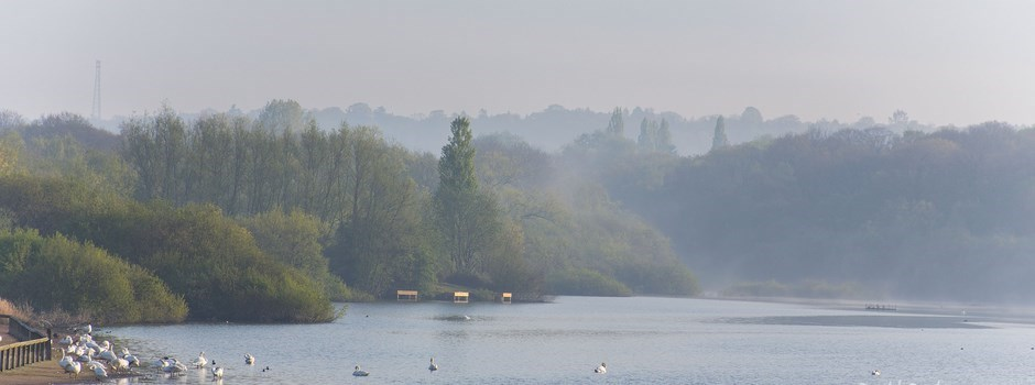 A misty view of Ruislip Lido