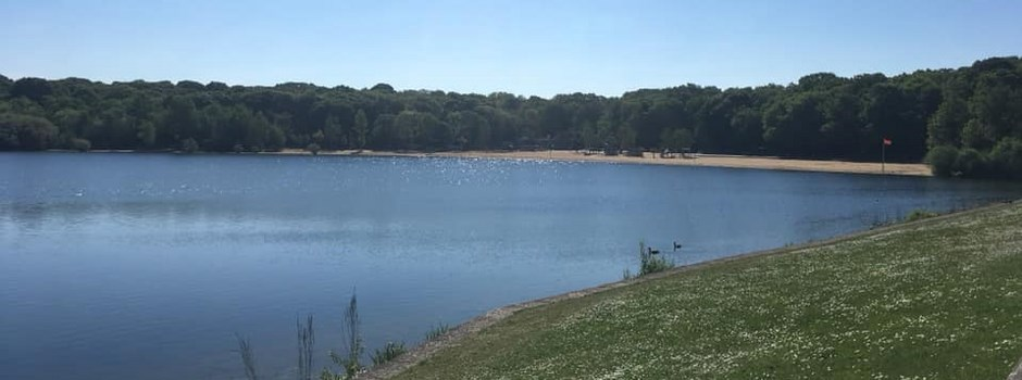 Looking over towards the beach at Ruislip Lido